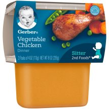 Gerber 2nd Foods Nutritious Dinners Vegetable Chicken Baby Food, 4 oz Tubs, 2 Count
