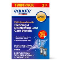 Equate Cleaning & Disenfecting Lens Care System Contact Lense Liquid, 12 Oz , 2 Pk