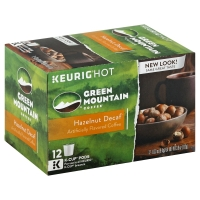 Green Mountain Coffee K-Cup Pods Light Roast Hazelnut Decaffeinated - 12