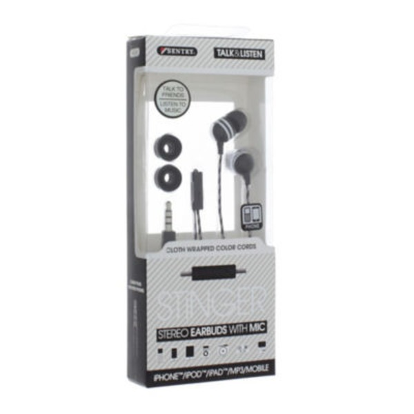Sentry Pro Black Stinger Earbuds With Microphone