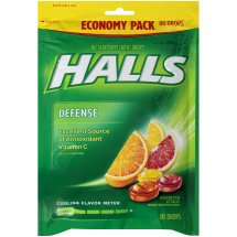 Halls Defense Assorted Citrus Vitamin C Supplement Drops 80 ct Bag