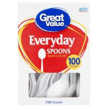 Great Value White Spoons, 100 Count