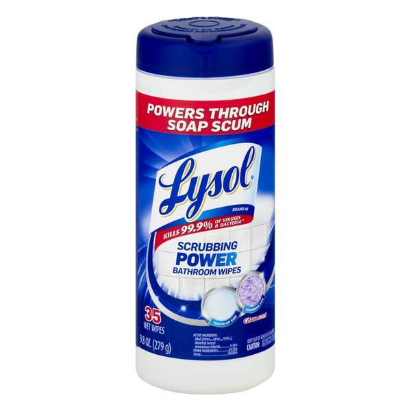 Lysol Scrubbing Power Bathroom Wipes Citrus Scent - 35 CT