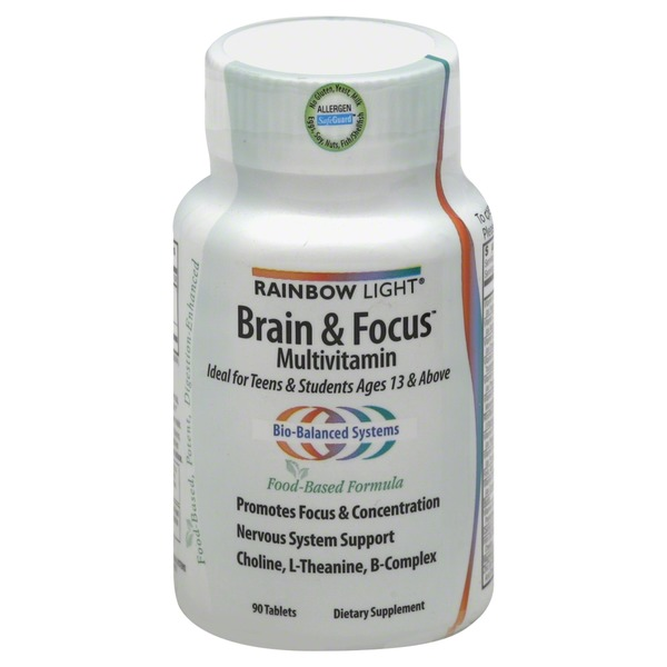 Rainbow Light Brain & Focus Food-Based Formula Multivitamin Tablets