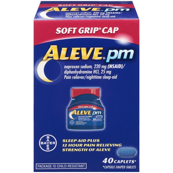 Aleve PM Soft Grip Cap Caplets Pain Reliever/Nighttime Sleep-Aid