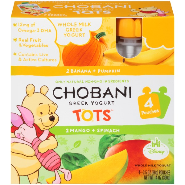 Chobani Tots Banana & Pumpkin/Mango & Spinach Variety Pack Whole Milk Greek Yogurt