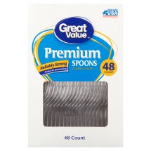 Great Value Premium Clear Spoons, 48 Count
