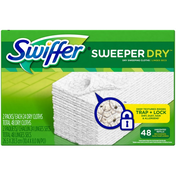 Swiffer Sweeper Dry Sweeping Pad Refills for Floor mop Unscented 48 Count Surface Care