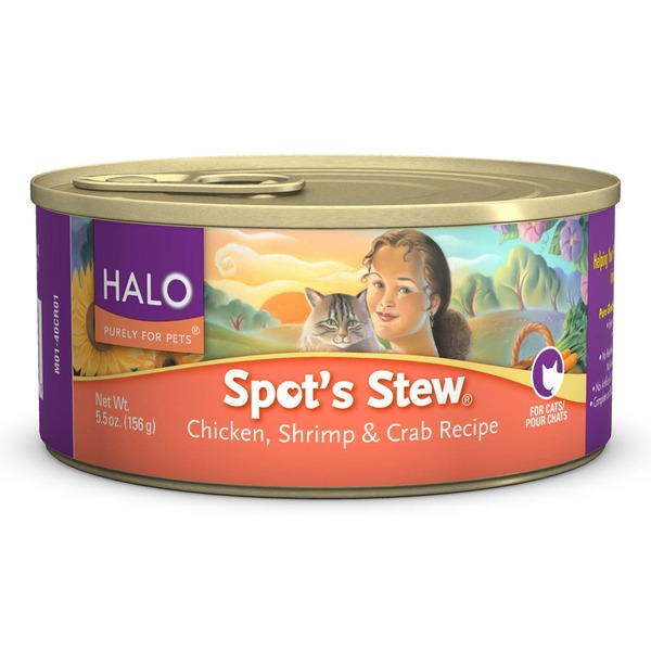Halo Spot's Stew Chicken, Shrimp and Crab Recipe Cat Food