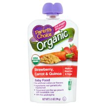 Parent's Choice Baby Food, Stage 2, Organic, Strawberry Carrot & Quinoa, 3.5oz Pouch