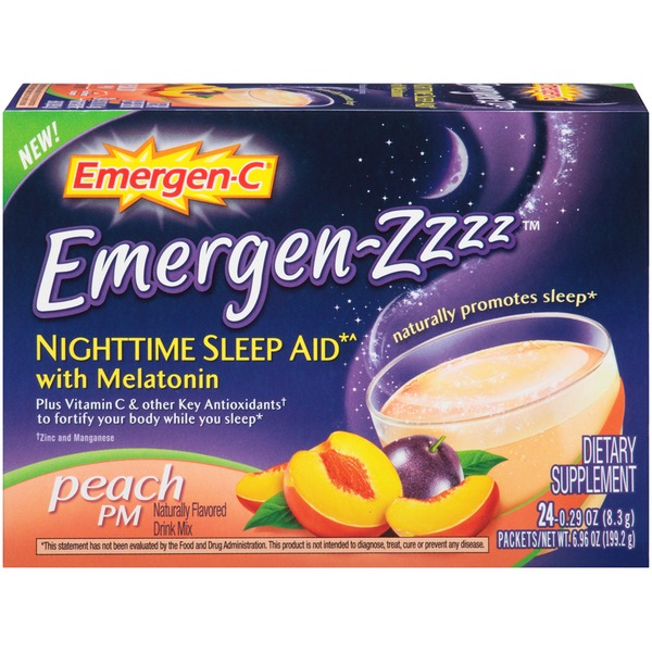 Emergen-C Emergen-Zzzz Nighttime Sleep Aid with Melatonin Peach PM Drink Mix Dietary Supplement