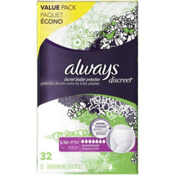 Always Discreet Always Discreet, Incontinence Underwear, Maximum Classic Cut, Small/Medium, 32 Count Feminine Care