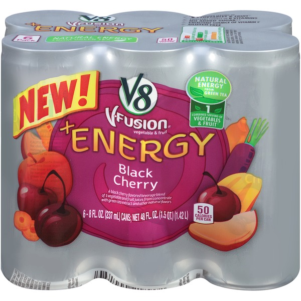 V8 V Fusion +Energy Black Cherry Vegetable & Fruit Juice