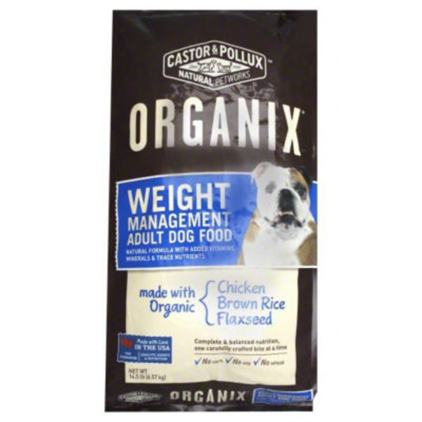 Organix Dog Food, Adult, Weight Management, Organic Chicken Brown Rice Flaxseed