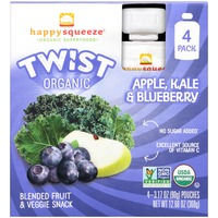 Happy Squeeze Organic Twist Apple, Kale & Blueberry Blended Fruit & Veggie Snack Pouch