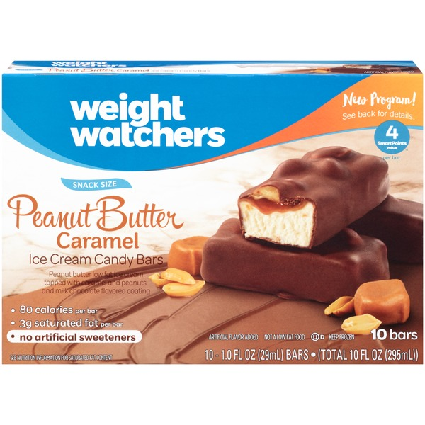 Weight Watchers Snack Size Peanut Butter Caramel Ice Cream Candy Bars