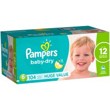 Pampers Baby Dry Diapers, Size 6, 104 Diapers