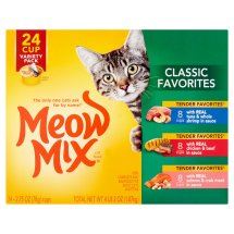 Meow Mix Classic Favorites Wet Cat Food Variety Pack, 2.75 oz Cups, 24-Pack