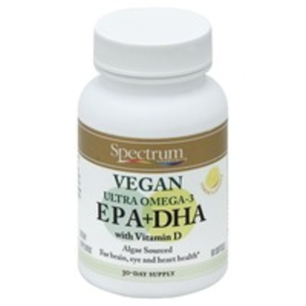 Spectrum EPA + DHA, Vegan Ultra Omega-3 Lemon Flavored