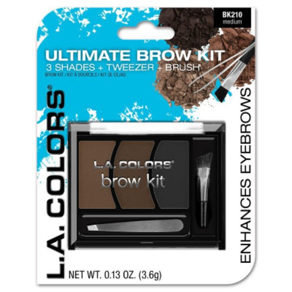 L.A. Colors Ultimate Brow Kit 3 Shades, Tweezers & Brush