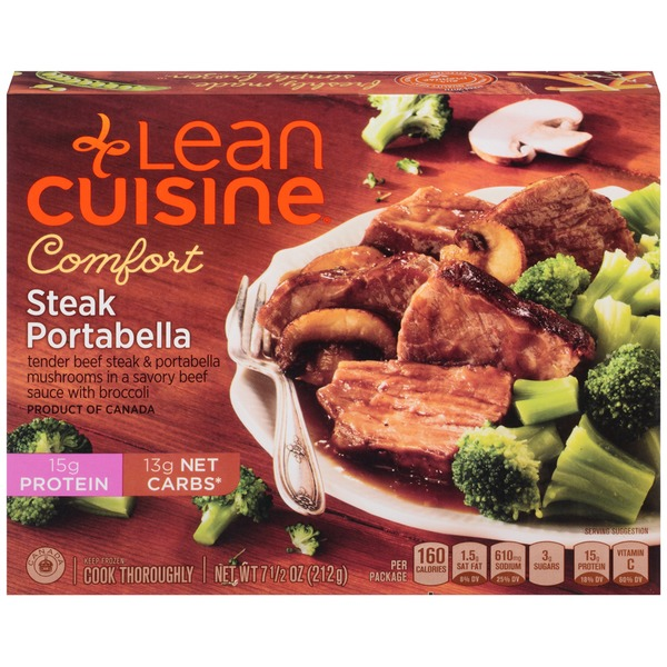 Lean Cuisine Comfort Tender beef steak and portabella mushrooms in a savory beef sauce with broccoli Steak Portabella