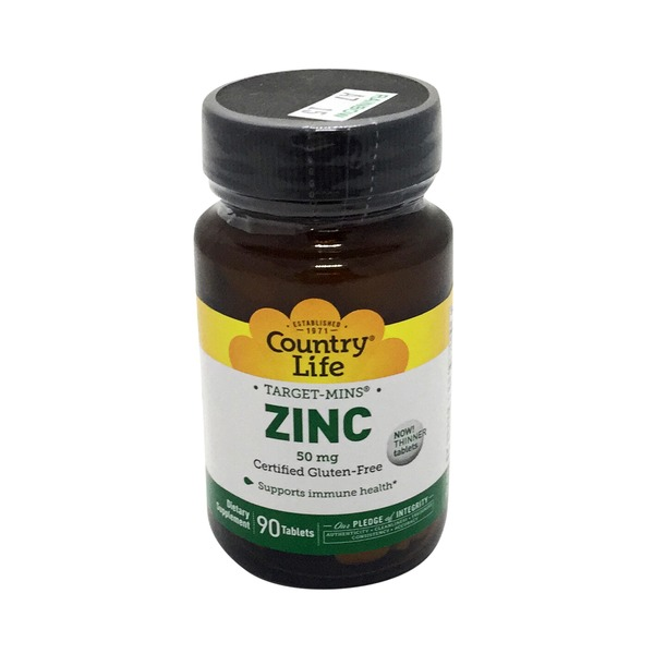 Country Life Zinc Target Mins 50 Mg Gluten Free Tablets
