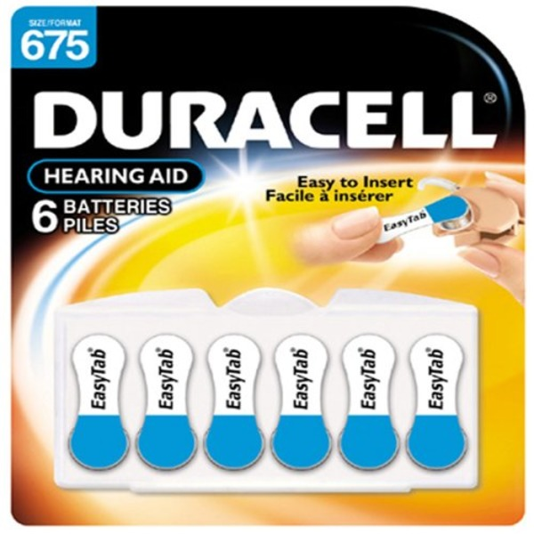 Duracell Size 675 Long-Lasting Hearing Aid Batteries 6 Count Specialty Batteries