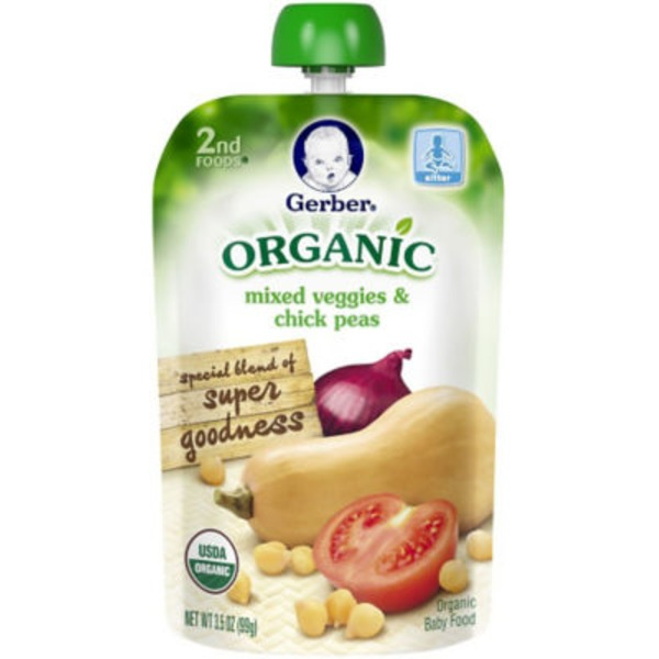 Gerber Organic 2 Nd Foods Mixed Veggies & Chick Peas Organic Baby Food