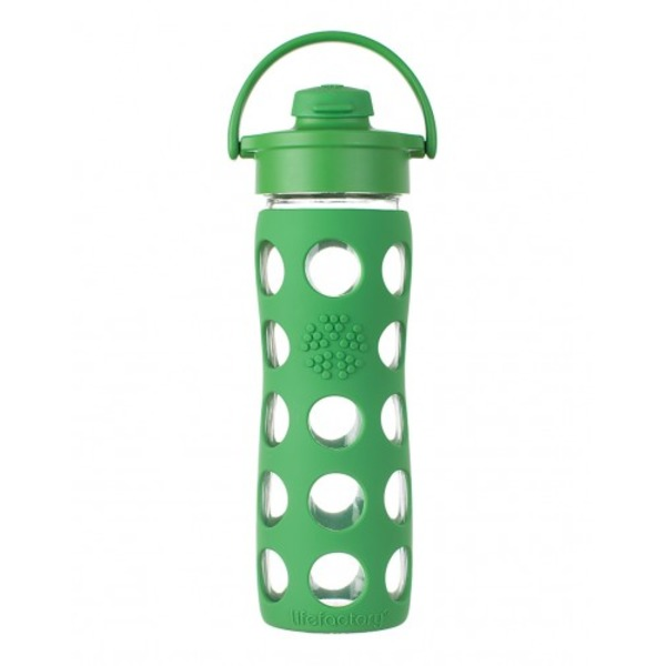 Lifefactory Green Color Straw Cap 22 Oz Glass Bottle With Sleeve