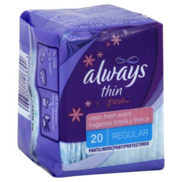 Always Thin Always Thin Active Dailies, Fresh Scented Wrapped Liners 20 Count Feminine Care