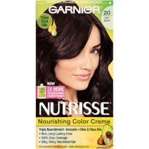 Garnier Nutrisse Nourishing Color Creme Hair Color, 20 Soft Black (Black Tea)