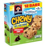 Quaker Chewy 25% Less Sugar Chocolate Chip Granola Bars, 12 count