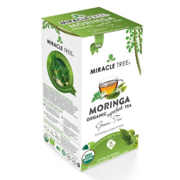 Miracle Tree Organic Moringa Green Tea Bags, Decaffeinated