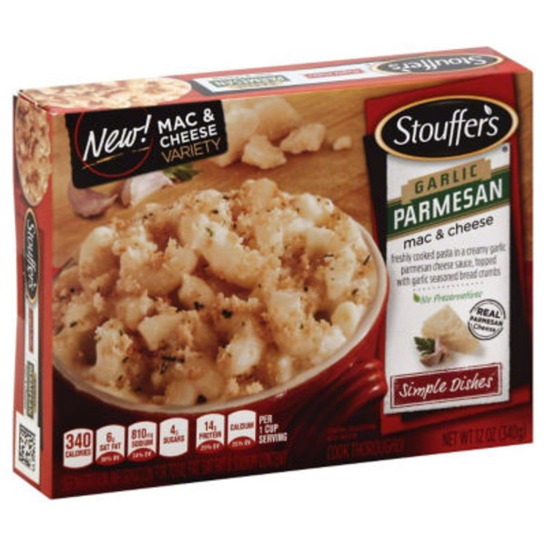 Stouffer's Simple Dishes Freshly cooked pasta in a creamy garlic parmesan cheese sauce, topped with garlic seasoned bread crumbs Garlic Parmesan Macaroni & Cheese
