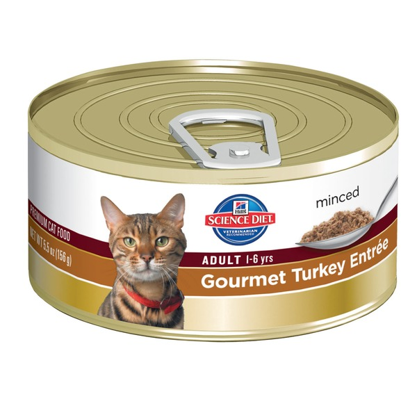 Hill's Science Diet Cat Food,  Adult (1-6 Years), Gourmet Turkey Entree, Minced
