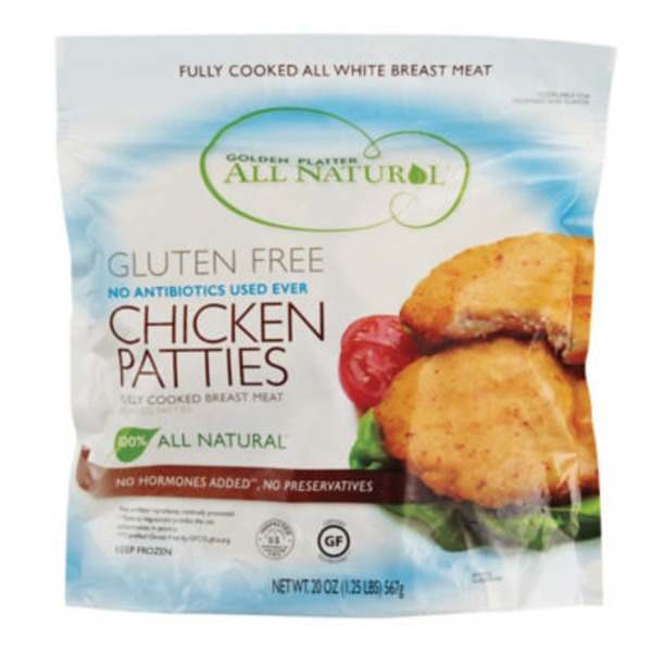 Golden Platter Chicken Patties, All Natural, Gluten Free, Pouch