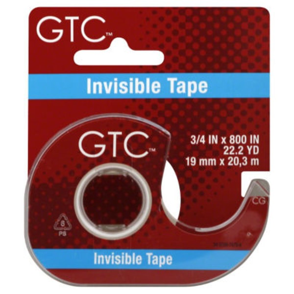 GTC Invisible Tape 3/4 X 800 Inch