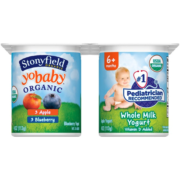 Stonyfield Organic Organic Yobaby Apple/Blueberry with Probiotics Whole Milk Yogurt