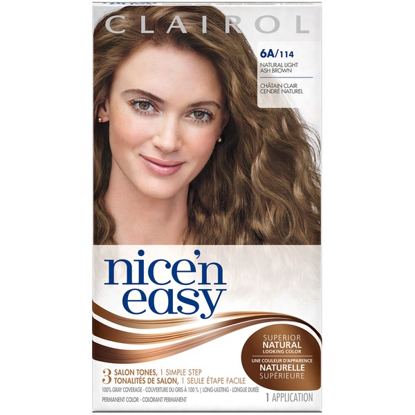 Clairol Nice 'N Easy Permanent Hair Color 6A Natural Light Ash Brown 1 Kit Female Hair Color