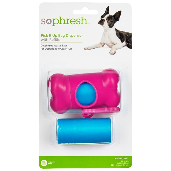 So Phresh Pick It Up Bone Shaped Dog Bag Dispenser With Refill 30 Count