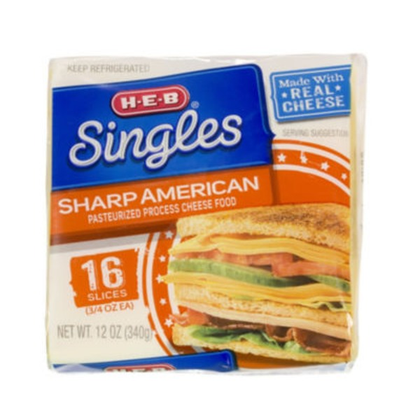H-E-B Singles Sharp American Cheese Slices