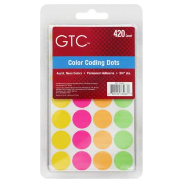 GTC Assorted Neon Color Coding Dots