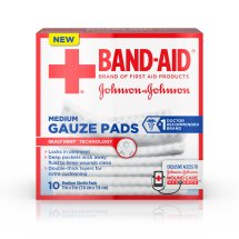 BAND-AID® Brand Medium Gauze Pads, for Minor Cut and Scrapes, 3 Inches by 3 Inches, 10 Count