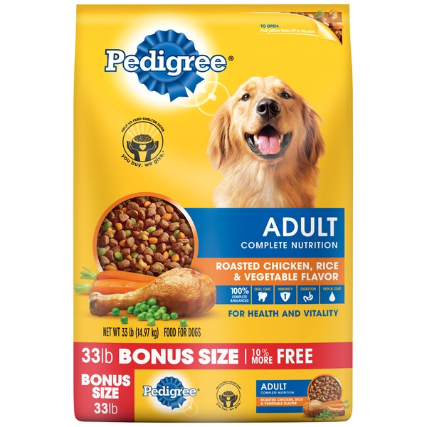 Pedigree Adult Complete Nutrition Roasted Chicken, Rice & Vegetable Flavor Dog Food