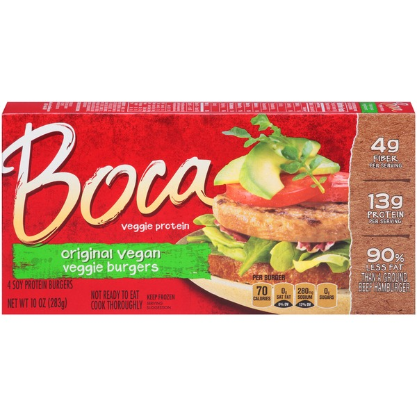 Boca Vegan Made with Non-GMO Soy Soy Protein Burgers