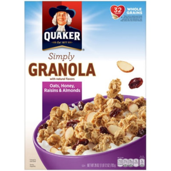 Quaker Natural Cereal Simply Granola Oats, Honey, Raisins & Almonds Cereal