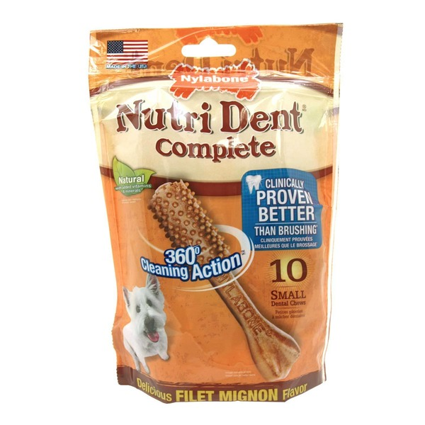 Nylabone Nutri Dent Complete Filet Mignon Flavor Dental Chew For Adult Dogs Small Pack