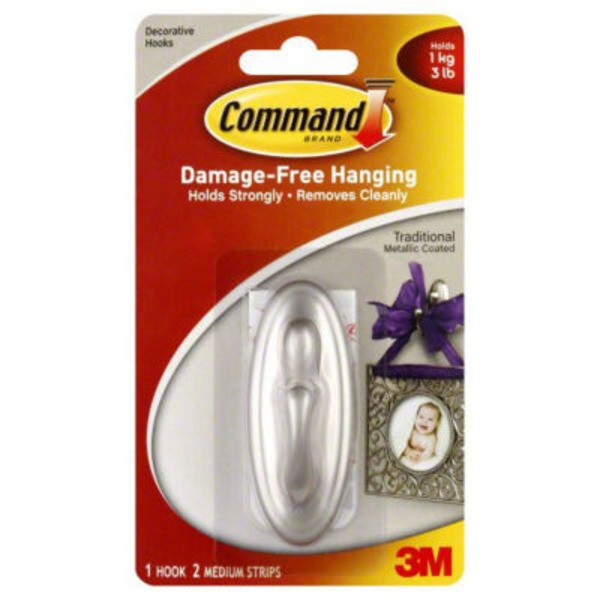 3M Command Metallic Coated Traditional Decorative Hook
