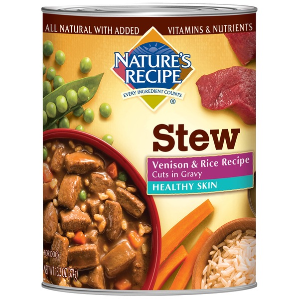 Nature's Recipe Healthy Skin Venison & Rice Recipe Cuts in Gravy Dog Food