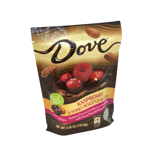 Dove Raspberry Flavored Cranberries in Dark Chocolate with Honey Roasted Almonds